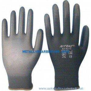 Nylon-PU-Handschuhe AS-6215, schwarz, teilbeschichtet - 1 Paar