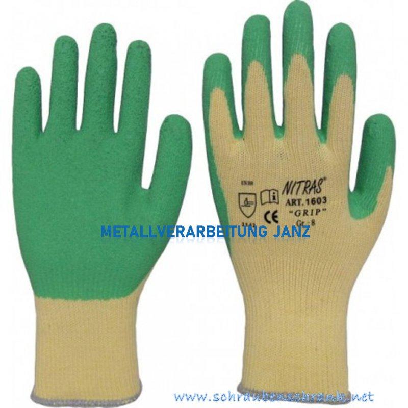 """Latexhandschuhe, grün, teilbeschichtet """"Grip"""" NITRAS 1603 - 1 Paar"""
