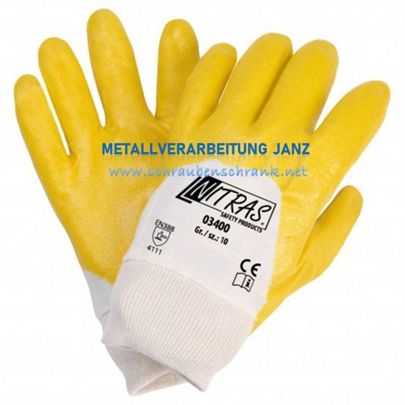 Nitrilhandschuhe, gelb, teilbeschichte NITRAS 3400 - 1 Paar
