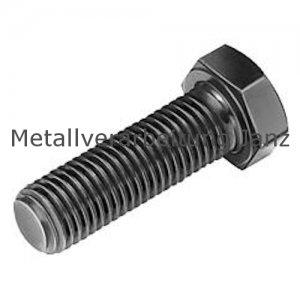 M4 x 12 mm Sechskantschrauben mit Gewinde bis Kopf 8.8 blank/schwarz - 500 Stück