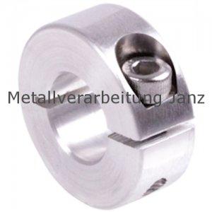 Geschlitzter Klemmring aus Aluminium eloxiert Bohrung 21mm mit Schraube DIN 912 A2-70 - 1 Stück
