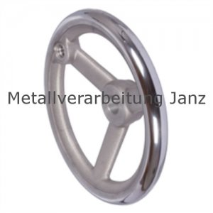 Speichen-Handrad DIN 950 aus Aluminium 3 Speichen Ausführung N/G Durchmesser 250mm mit Gewindeauge für Ballengriff - 1 Stück