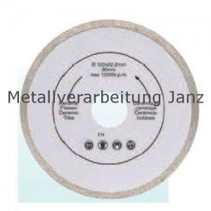 Diamant Trennscheibe 125mm x 22,2 x 2,0 durchg. Rand - 1 Stück