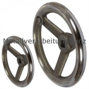 Speichen-Handrad DIN 950 aus Grauguss 3 Speichen Kranz gedreht und poliert Ausführung V/A Durchmesser 160mm Vierkant 14mm - 1 Stück
