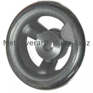 Speichen-Handrad DIN 950 aus Grauguss 3 Speichen Kranz gedreht und poliert Ausführung N/G Durchmesser 225mm mit Gewindeauge für Ballengriff - 1 Stück