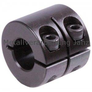 Geschlitzter Klemmring breit Stahl C45 brüniert Bohrung 20mm mit Schrauben DIN 912 12.9 - 1 Stück