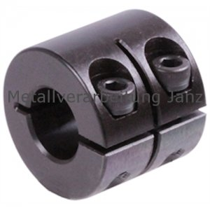 Geschlitzter Klemmring breit Stahl C45 brüniert Bohrung 25mm mit Schrauben DIN 912 12.9 - 1 Stück