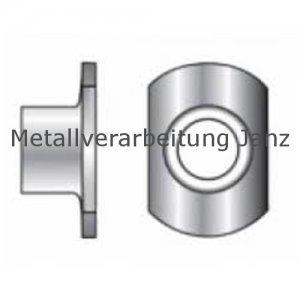 Anschweißmutter M6 d22/h8,5 Form C ohne Anschweißpunkte Edelstahl A2 - 100 Stück