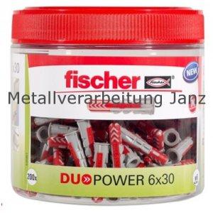 Fischer-DUOPOWER 6x30 in der praktischen Runddose (Inhalt: 200 Stück) - 1 Dose