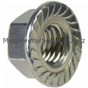 Sechskantmuttern mit Flansch und Sperrverzahnung (ähnlich DIN 6923) A2 Edelstahl M6 - 100 Stück