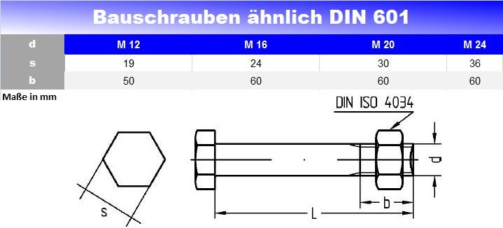 Bauschrauben ähnl. DIN 601/555