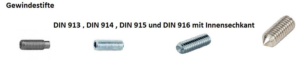 Gewindestifte DIN 913 DIN 914 DIN 915 DIN 916