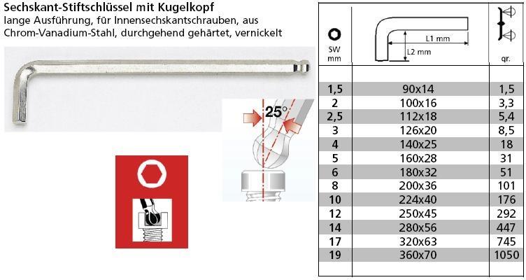 Stiftschlüssel Sechskant mit Kugelkopf lange Ausführung