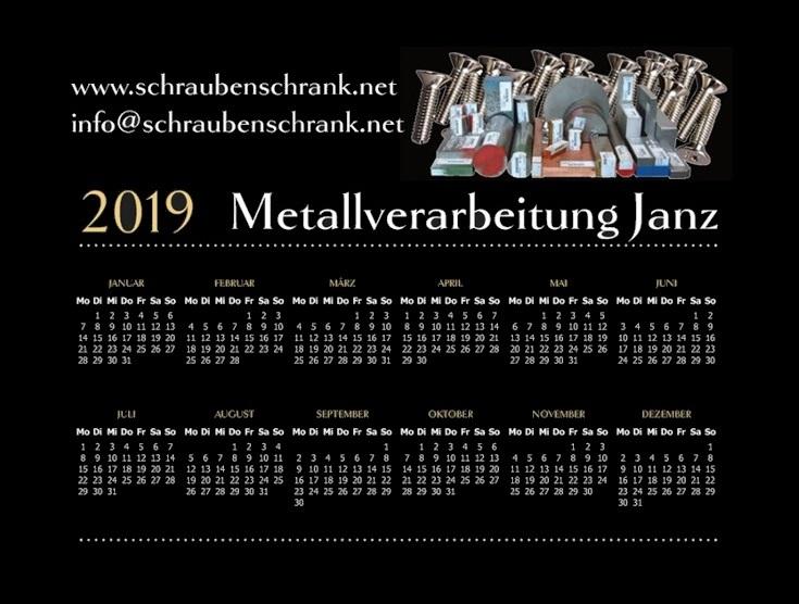 Kalender 2019 Metallverarbeitung Janz